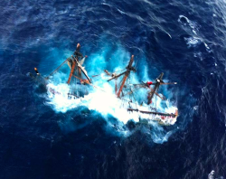 kateoplis:  The Bounty, a 180-foot sailing ship sinks in the Atlantic Ocean during Hurricane Sandy, approximately 90 miles southeast of Cape Hatteras, NC, on Sunday. Of the 16-person crew, the Coast Guard rescued 14, recovered a woman who was later pronounced dead and are searching for the captain.