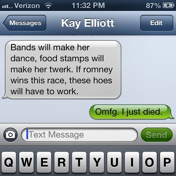 Bye. The things my girlfriend send me. 😂😂 #crying #dying #hilarious #bandz #romney #2012