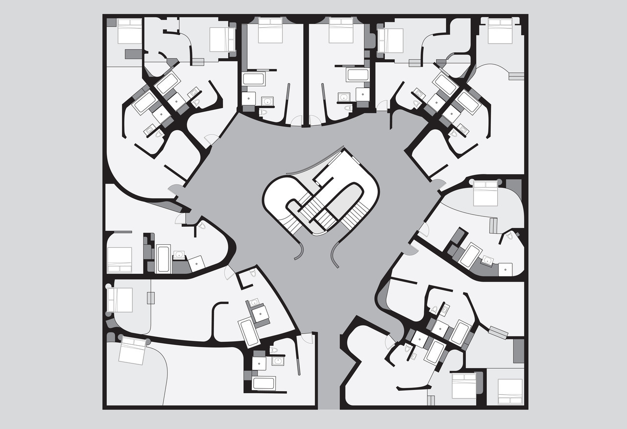 Owen Nichols Plan of hotel room cluster