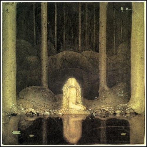 "liquidnight:  John Bauer Princess Tuvstarr and the Fishpond, 1913 Illustration for ""Leap the Elk and the Little Princess Cottongrass"" or ""The story of Skutt the Moose and little Princess Tuvstarr"" by Helge Kjellin From Swedish Folk Tales Illustrated by John Bauer [Image via Golden Age Comic Book Stories]"