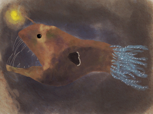 moonquartz:  A is for Anglerfish Part of a series of sea creatures. Hopefully this will help me learn the ropes of digital painting.