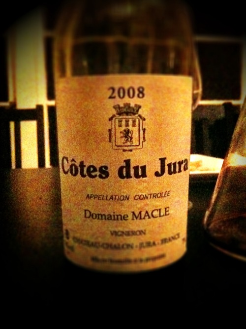 "Domaine Macle Cotes du Jura 2008 -  My friend says, ""have you tried a Jura?"" I'm like ""I don't think so"". He say's ""Well, you'd remember."" So he picks out this Domaine Macle Cotes du Jura 2008, and it was memorable to say the least. The nose reminds me of drinking bum-jug wine in high school. Burnt candy apple, nutty butter, sweet and boozy, you swig it and it feels like it is heading in that direction, but it seems to calm down & finish clean, with no over whelming mouth feel. I wouldn't be able to drink this alone, it is best with friends and food."