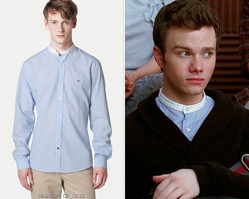 fashionofglee:  A Kurt outfit wouldn't be a Kurt outfit without a touch of military detailing; he wears a mandarin collar shirt in the aftermath of the 'rock salt slushie incident' in 'Michael'. Thanks omidporcelain! Lacoste Long Sleeve Woven Shirt With Mandarin Collar - No longer available Worn with: J.C. Rags cardigan, Marc by Marc Jacobs bag, Dr. Martens boots