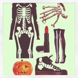 #halloween apparel by @JeffreyCampbell. #pumpkin #costume #lipstick #bones