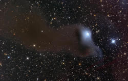 "spacettf:   VdB 152: A Ghost in Cepheus   Image Credit & Copyright:  Stephen Leshin  Explanation:  Described as a ""dusty curtain"" or ""ghostly apparition"", mysterious reflection nebula VdB 152 really is very faint. Far from your neighborhood on this Halloween Night, the cosmic phantom is nearly 1,400 light-years away. Also catalogued as Ced 201, it lies along the northern Milky Way in the royal constellation Cepheus. Near the edge of a large molecular cloud, pockets of interstellar dust in the region block light from background stars or scatter light from the embedded bright star giving parts of the nebula a characteristic blue color. Ultraviolet light from the star is also thought to cause a dim reddish luminescence in the nebular dust. Though stars do form in molecular clouds, this star seems to have only accidentally wandered into the area, as its measured velocity through space is very different from the cloud's velocity. This deep telescopic image of the region spans about 7 light-years. NASA APOD 31 Oct 2012"