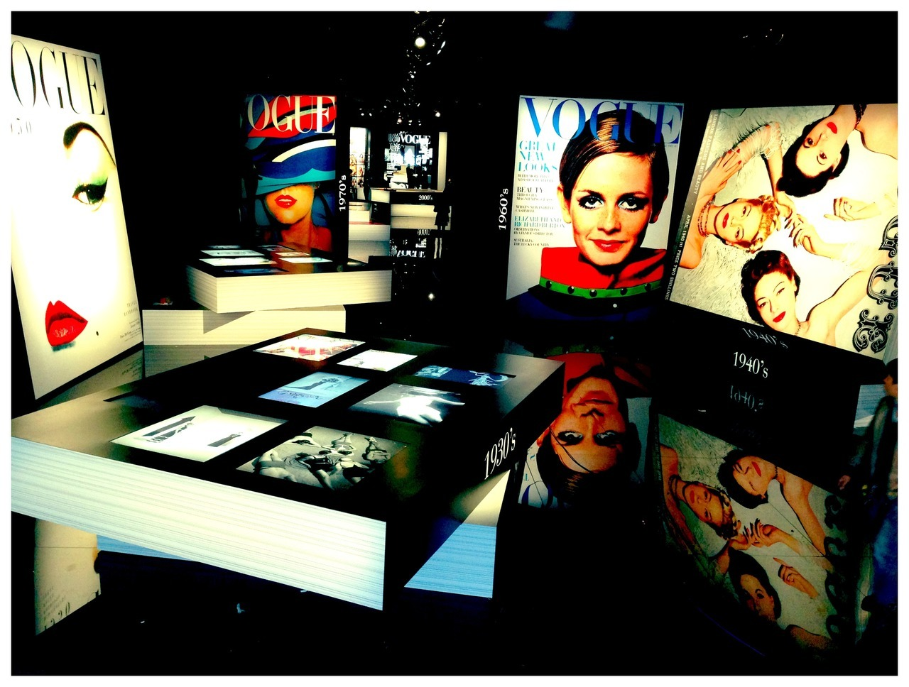 120 years of Vogue and 7 years of Vogue China Exhibition  Designed by Alexandre de Betak  Opened last night in Beijing  Over-sized Vogue covers