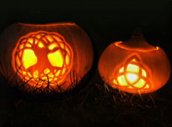Wishing you a magical and mystical Samhain :) My celtic inspired pumpkins several years ago, Tree of Life and Triquetra.