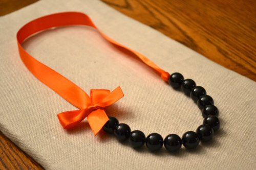 Black Cat Halloween Necklace Orange and Black by LittleMaeDesigns