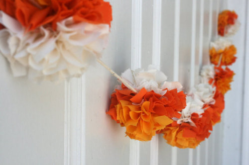 Fall Halloween Garland Pom Pom Bunting by ThreadingMarigolds