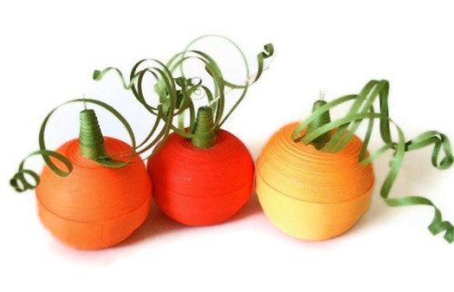 Halloween Pumpkin Ornament Trio Orange Paper by WintergreenDesign