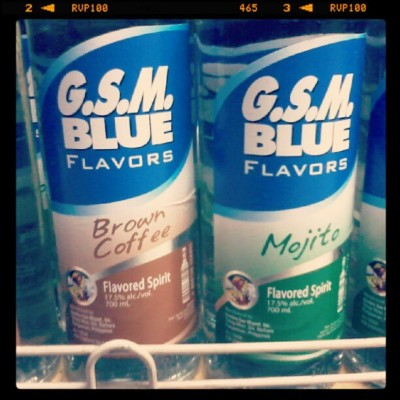 Saw this at the supermarket earlier. #GSMBlue #FlavoredLiquor #BrownCoffee #Mojito #MustTry #Alcohol