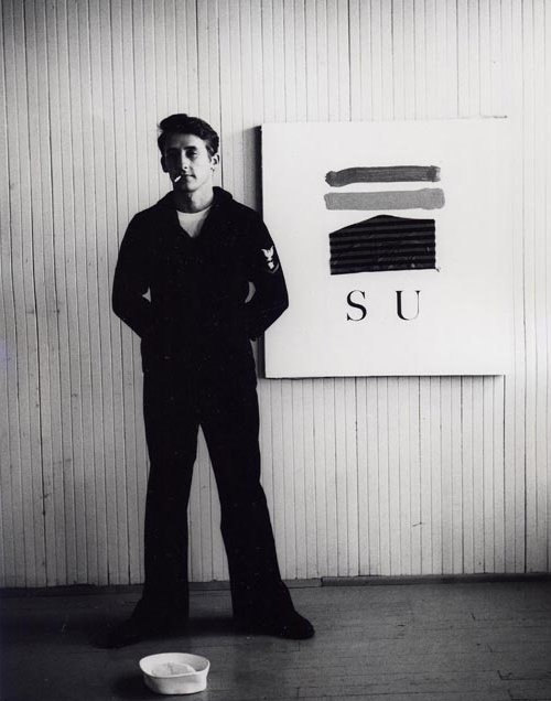Ed Ruscha with his Naval uniform and painting SU, 1962- Jerry McMillan