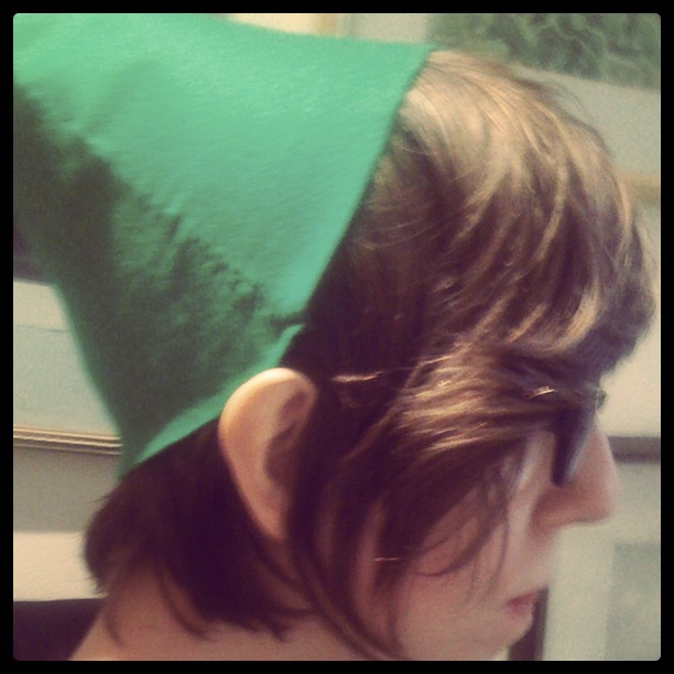 I made a Link hat for my Halloween costume! Now I just need to do the shield…
