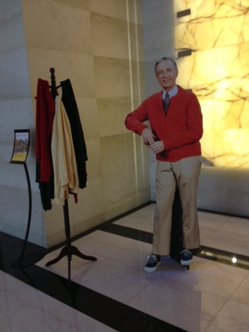This was in the PBS lobby last week. How has Mister Rogers inspired you?