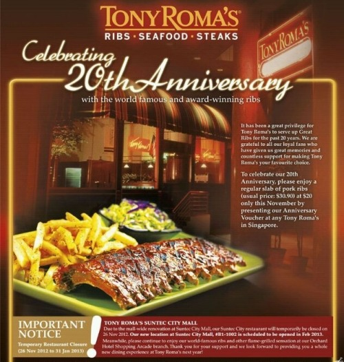 $20 Pork Ribs Voucher (U.P. $30.90). Only valid until 30 Nov 2012!