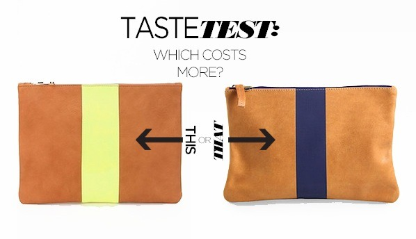 Can you tell which striped clutch costs $100 more?