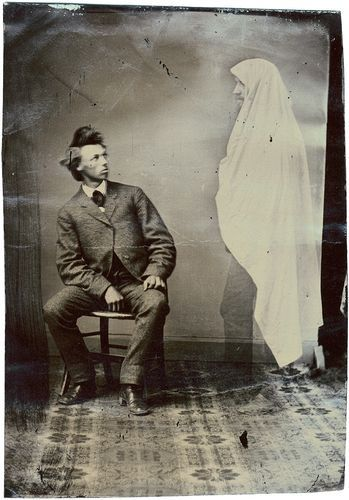 ca. 1880, [tintype portrait of a gentleman with a spectral apparition] via the Northern Light Gallery, Andrew Daneman Collection of American Tintypes