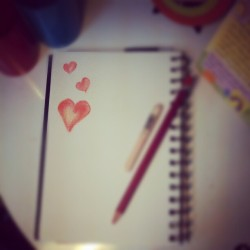#Graphic_diary October 31,2012 #pastel #drawing #hearts #love #pink #red #color #soft_pastel #sketch #note