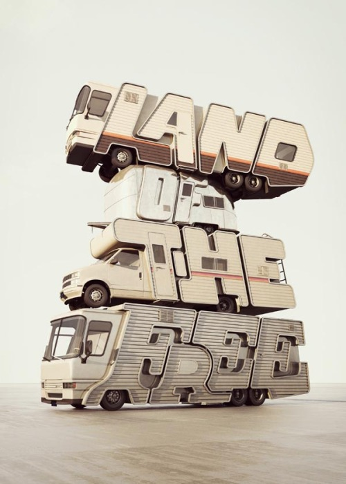 weandthecolor:  Creative 3D Typography Some amazing examples of 3D typography by designer and illustrator Chris LaBrooy from UK. More 3D Type Images by Chris LaBrooy on WE AND THE COLORFacebook // Twitter // Google+ // Pinterest