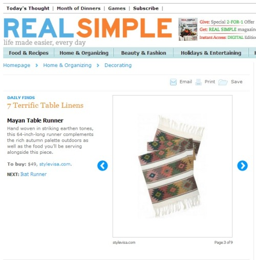 "Thanks Real Simple for including our Mayan Table Runner as a Daily Find today! Preparing for an influx of guests this holiday season? As Real Simple shares here, ""Hand woven in striking earthen tones, this 64-inch-long runner complements the rich autumn palette outdoors as well as the food you'll be serving alongside this piece."""