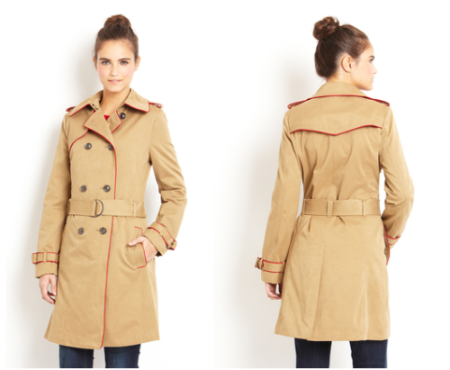 I am also loving this red-piped trench coat from Isaac Mizrahi, down to $99 from an original price of $198.