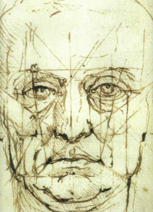 Ginette Chalifoux, copy after Leonardo da Vinci's 'Study of a Head' (detail), 2005. Ink on tinted watercolour paper, 12 x 14 in. Aristedes Classical Atelier.
