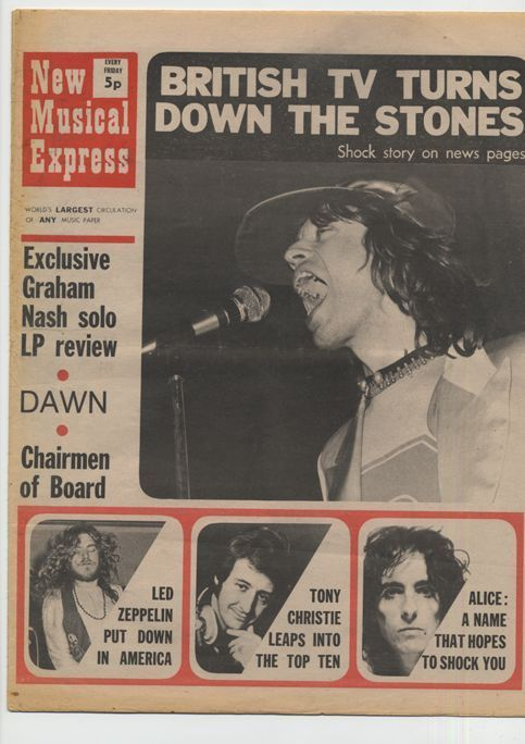 MICK JAGGER on the NME cover of June 05 1971 (Via spioo)