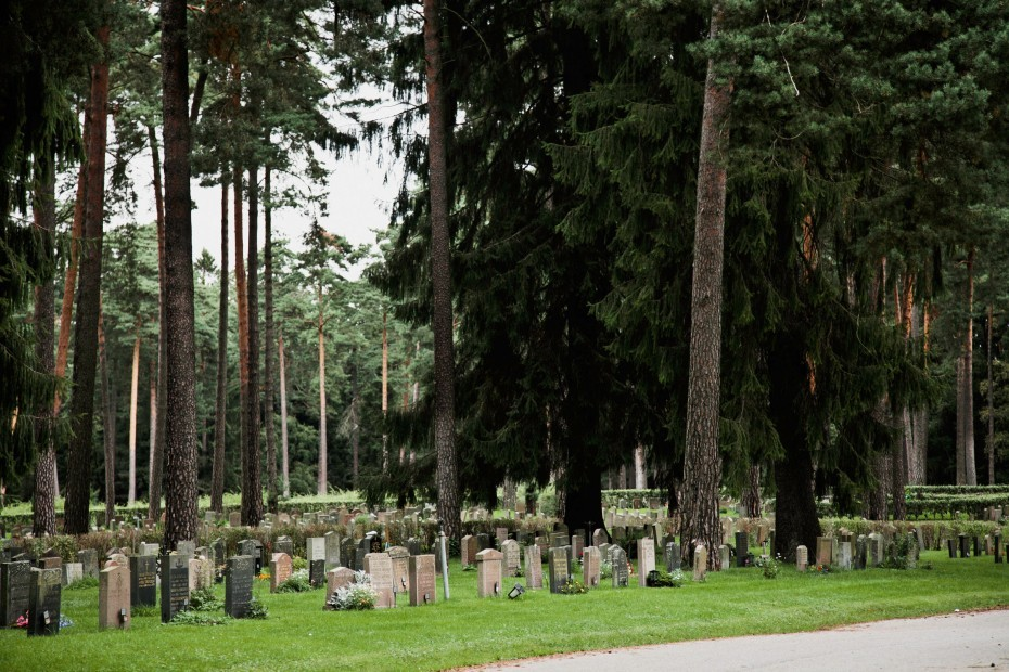 Walking with Anna Eriksson through the cemetery of Skogskyrkogården, Stockholm, Sweden.