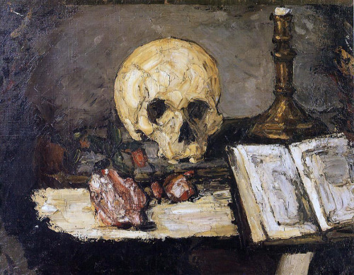 workman:  drawpaintprint: Paul Cezanne: Still Life with Skull and Candlestick (1866)