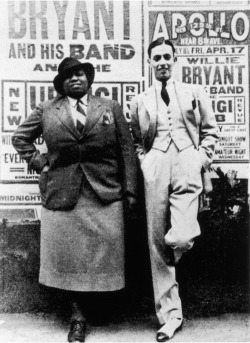 bibicapella:  Gladys Bentley & Willie Bryant, outside the Apollo Theater, New York 17 April, 1936