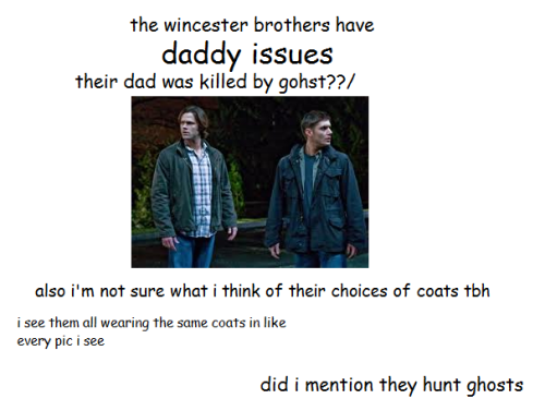 philosophers-scone:  everything i know about supernatural, by someone who's never watched supernatural
