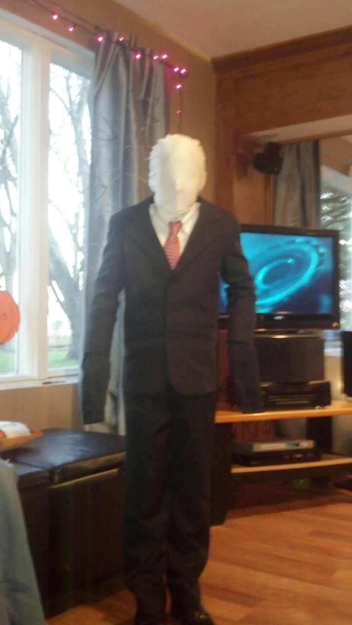 My cousin as Slenderman for Halloween.