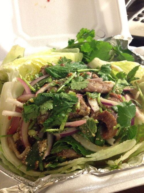 Yum Nua Salad.  As I remember it, grilled beef with red onion, cilantro, mint, lime juice and rice powder.  I wrapped it in the lettuce with brown rice.  If you are in Billings, make sure to try out Lemongrass Thai.  That place is no joke!