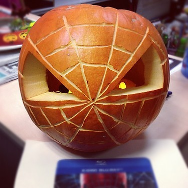 Happy Halloween from The Amazing Spider-man Check out this amazing Halloween pumpkin from our friends at DnA PR, to kick off the countdown to the DVD & Blu-ray (+ hmv Exclusive Steelbook) release of The Amazing Spiderman at hmv!