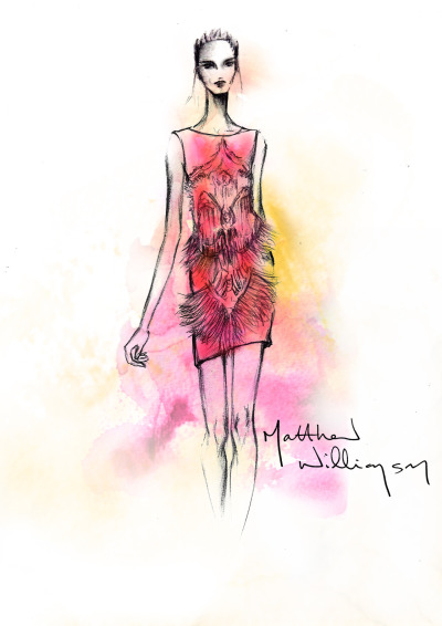 @matthewwilliamson's sketch of the Limited Edition Butterfly Swarovski Crystal Dress, as worn by Sienna Miller in the short film XV. http://youtu.be/Ev2ki6J54uM