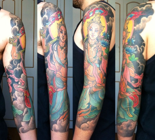 My tattoo, Manjushri Bodhisattva of Wisdom. By Jacob Abarca at Creer para Ver Santiago, Chile.