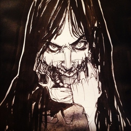 "technologicme:  (Japanese) The Kuchisake-onna, or Slit-Mouthed Woman. ""Children walking alone at night may encounter a woman wearing a surgical mask. The woman will stop the child and ask, ""Am I beautiful?"" If the child answers no, the child is killed with a pair of scissors which the woman carries. If the child answers yes, the woman pulls away the mask, revealing that her mouth is slit from ear to ear, and asks ""How about now?"" If the child answers no, he/she will be cut in half. If the child answers yes, then she will slit his/her mouth like hers…"""