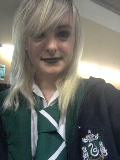 Chillin' like a Slytherin. Gonna put on Roxy lalonde when i get home and take a shot or two  Happy Halloween everyone