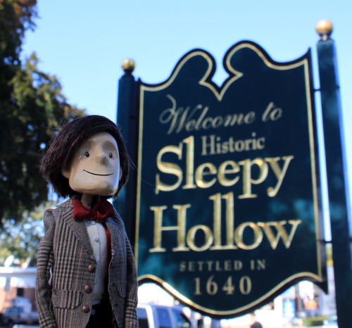 Last weekend Alisa and I traveled North to the village of Sleepy Hollow. It was pleasantly spooky and decorated for the occasion. We walked through town then crossed the Pocantino River close to the original site of the Headless Horseman Bridge from Washington Irving's famous story. Then we headed into Sleepy Hollow Cemetery. Thousands of early New York State residents are buried there, including Washington Irving himself. Nice fellow. The trees were beautiful.  If we get any trick or treaters later I'll be handing out Jelly Babies. Happy Halloween!