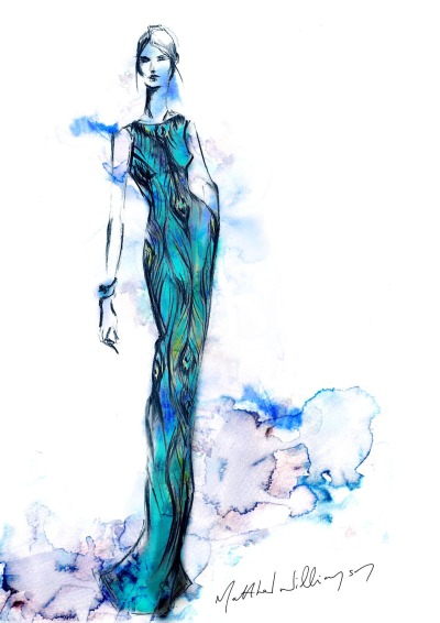@matthewwilliamson's sketch of the Peacock Swarovski Crystal Gown new in today. http://bit.ly/RsN5TZ