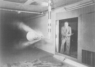 Model of Mercury capsule undergoing wind tunnel evaluations at Langley, Virginia (NASA)