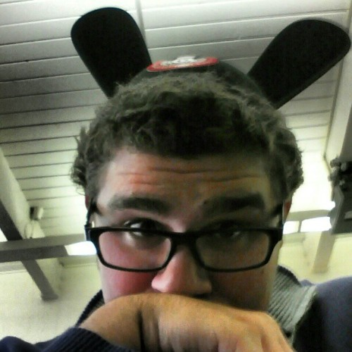 Wearing my Disney Oswald ears to school!