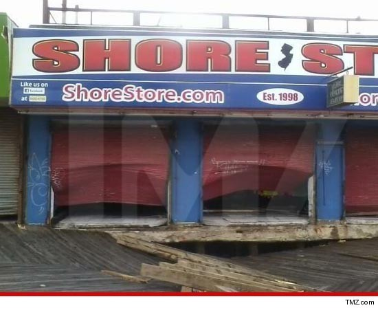 "The boardwalk t-shirt store made famous by ""Jersey Shore"" has been RAVAGED by Hurricane Sandy — torn open like a sardine can — and TMZ has a photo of the heartbreaking damage."