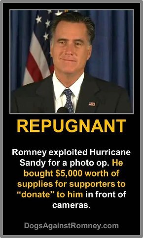 mitt-takes-credit:  Taking credit for disaster relief he isn't even providing.