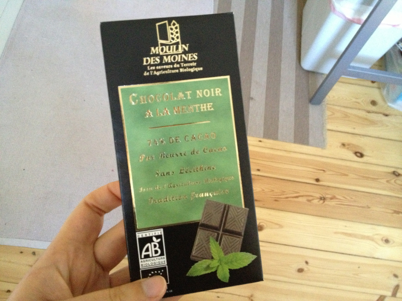 moulin des moines - 74% cacao with mint. lovely :) the mint was subtle but still quite refreshing!