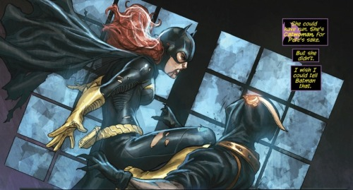 batgirlrising:  Batgirl Annual #1: most perfect issue of New 52 Batgirl yet.  Art: breathtaking, Story: heartbreaking and uplifting at the same time (Selina pinkie-swearing is ludicrously adorable.)  Three ladies that could not be more different from each other, finding common ground in adversity that I hope will live longer than this one issue. Batgirl, Catwoman, and Talon Mary are the new Gotham City Sirens.   And I really want to see them fight a villain with a mouse theme… common natural enemy and all ;) Also, if Selina takes Mary on vacation, it really needs to be a cruise at sea in a beautiful pea-green boat.    The art in this is FABBO!  Thank you for he kind words!