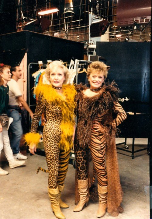 Betty White and Rue McClanahan in costume, behind the scenes of The Golden Girls.