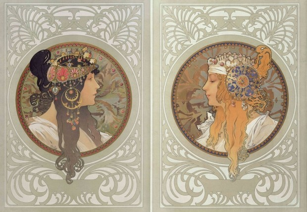 oldroze:  Alphonse Mucha, Byzantine Heads (pair) (1897)   This pair of decorative panels was so popular that it was reproduced in a number of different formats, including panels with variations in the frame decoration and decorative tin plates. Both women are seen in profile against an ornate background of vegetal arabesques. They wear highly ornate jewellery in their hair, which is evocative of Byzantine design as suggested in the title. In both panels, strands of hair fall beyond the circular frames, bridging the gap between the women and the viewer and lending a sense of depth to the otherwise flattened compositions.