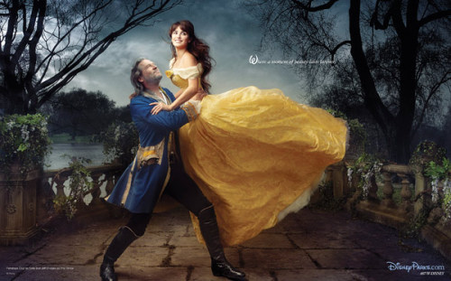 Jeff Bridges gives beauty Penélope Cruz a boost in a Disney Dreams portrait by Annie Leibovitz