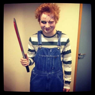 Ed Sheeran dressed as Chuckie for Halloween!